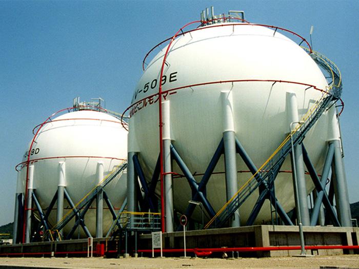 High Pressure Bottle Rack : Spherical tank gas holder│ishii iron works co ltd (iiw)